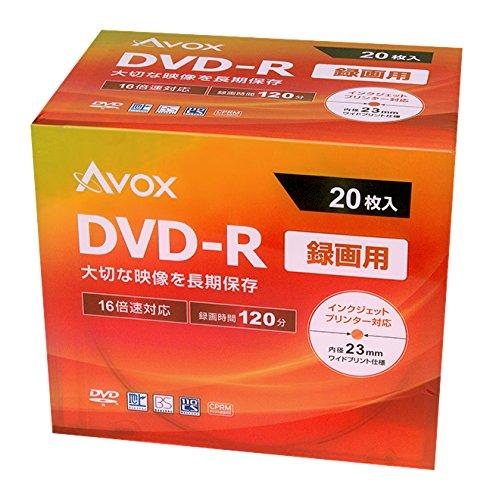 AVOX DVD-R 録画用(120分) 1-16倍速 20枚 スリムケース