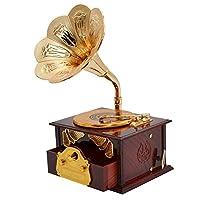 Fdingクラシックゴールドホーンレトロ蓄音機 アートディスク音楽ジュエリーボックス/メイクアップケース ホームインテリア ブラウン