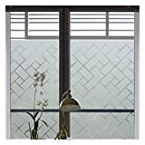 Coavas Privacy Brick Window Film Static Clings Glass Film Frosted Window Film Privacy Glass Film for Home &Office Anti UV/Heat Insulation/Privacy (17.7 by 118 inches) …