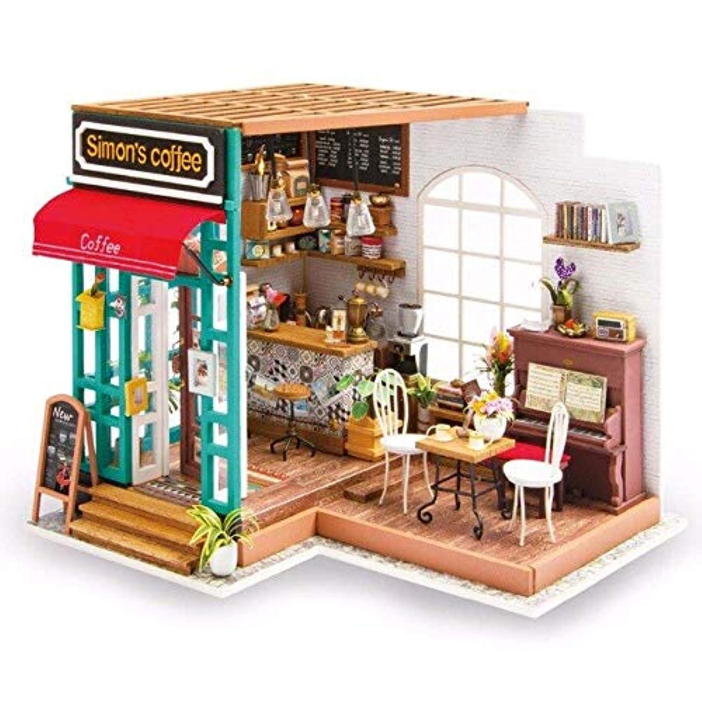 暴君毎回震えDORA⊕BRSDiyドールハウスミニチュアドールハウス家具木製のおもちゃ子供のためサイモンのコーヒーrobotimeDG109,DG109