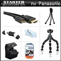 スターターアクセサリーキットfor the Panasonic Lumix DMC - lx7、dmc-lx7K、dmc-lx7W、lx5デジタルカメラはデラックス携帯ケース+ 7柔軟な三脚+ Mini HDMIケーブル+ USB High Speed 2.0SDカードリーダー+ LCDスクリーンプロテクター+ミニ卓上三脚+ +