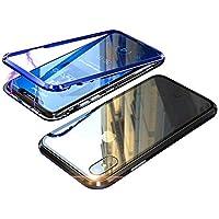 iPhone X ケース iphonex カバー アルミ バンパー 背面ガラス アイフォン X 透明 強化ガラス バックプレートマグネット式 磁力で接続 QI ワイヤレス 充電対応 軽量 薄型 スマホケース 擦り傷防止 耐衝撃保護(iphone X,青+黒)