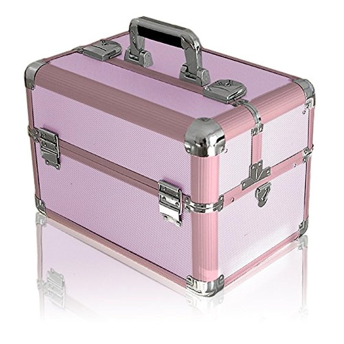 パンサー確かな件名ottostyle.jp メイクボックス コスメボックス Lサイズ 【ピンク】 37×24.5×27.5cm 観音開き アルミ プロ仕様 鍵付き ツールボックス 工具箱