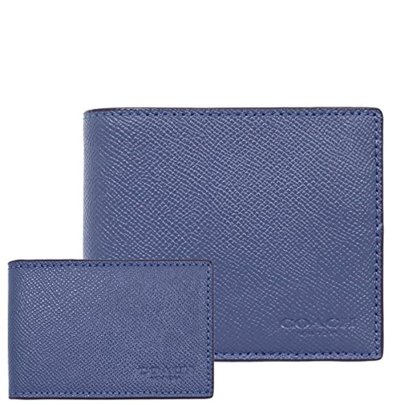 自発に沿って細分化する[コーチ] COACH 財布 (二つ折り財布) F59112 ダークデニム DDE レザー 二つ折り財布 メンズ [アウトレット品] [並行輸入品]