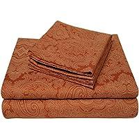 カリフォルニアキング4 PieceオレンジPrintedフローラルペイズリーパターンシートセット魅力的な豪華な美しいエレガントなベッドスタイリッシュでモダンなフィットフラットファッショナブルチャーミング明るいリッチカラーベッド部屋Addition