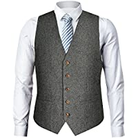 Zicac Men's Unique Advanced Custom Tweed Vest Skinny Wedding Dress Vest