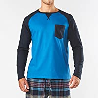 Men's Long Sleeve Raglan Cotton Pyjama Tee - Navy/Blue