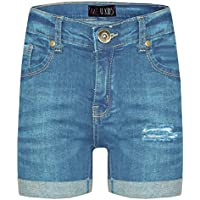 Kids Girls Shorts Designer's Denim Ripped Chino Bermuda Jeans Shorts 5-13 Years