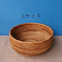 収納籐  ラタンかご 丸っこいバスケット   フルーツバスケット  小物入れ   カワイイ  ナチュラル ハンドル+おまけ付け (Mサイズ:直径22cm*高さ10cm)