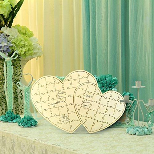 [해외]로맨틱 하트 디자인 결혼식 접수 사인 사인 보드 퍼즐 사양 방명록 기념품 나무 47x42cm/Romantic Heart Design Wedding Reception Signboard Board Jigsaw Puzzle Specifications Honorable Memorabilia Wooden 47 x 42 cm