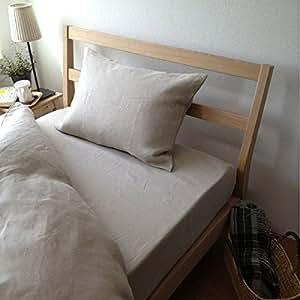 日本製 ピロケース 麻 リネン 【Lino】  まくらカバー 43x63cm用 (BE/ベージュ)