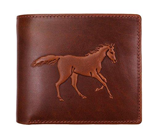 Embossman(エンボスマン) 二つ折り財布 馬 馬蹄 浮彫りエンボス デザインを楽しめる財布 幸運 PH8187 (ブラウン(箱なし))