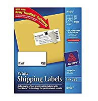 3 X Avery Shipping Labels with TrueBlock Technology 2 x 4 White 250/Pack PK - AVE8163 [並行輸入品]