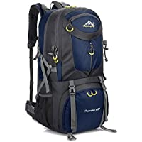 Hiking Backpack Nylon Waterproof Large Capacity Daypack for Outdoor Sports Travel Fishing Cycling Skiing Climbing Camping Mountaineering (Dark Blue-60L)