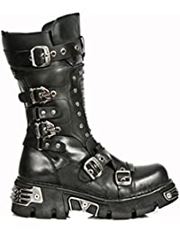 New Rock Shoes - Black Leather Gothic Boots with Studs and Reactor Soles