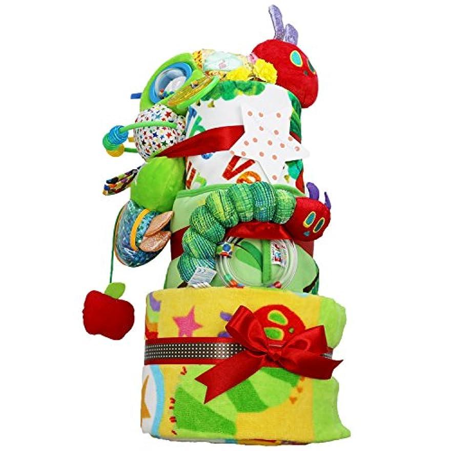 背が高い持続的草はらぺこあおむし 出産祝い プレミアム 3段 おむつケーキ バスタオル 女の子 男の子 男女兼用 ERIC CARLE エリックカール