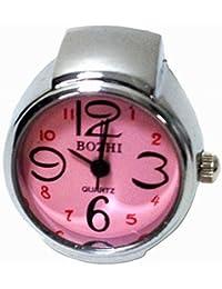 Amateras 指輪時計 リングウォッチ シンプル 大きな 数字 文字盤 ホワイト フェース シルバー 時計 指輪 贈答 レディース メンズ ゴシック レトロ コレクション リング ウォッチ アクセサリー【MT391】 (ピンク)