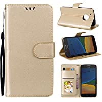 Motorola Moto G5 Plus Holster Case Flip, Moonmini Cover Suit Premium Vertical Leather Pouch Sleeve Carrying Case 電話ケーススリム with Card Slot Holster for Motorola Moto G5 Plus (Golden)