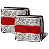 Partsam Led Trailer Towing Lights Clear w/Reflex, Universal 2X 15 LED Trailer Rear Light, Board Tail Brake Stop Indicator License Plate Light Lamp IP68 Waterproof for Boat Trailer Truck Lorry Van