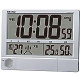 セイコー クロック 掛け時計 置き時計 兼用 電波 デジタル プログラム機能 カレンダー 六曜 温度 湿度 表示 大型 薄型 軽量 銀色 メタリック SQ434S SEIKO