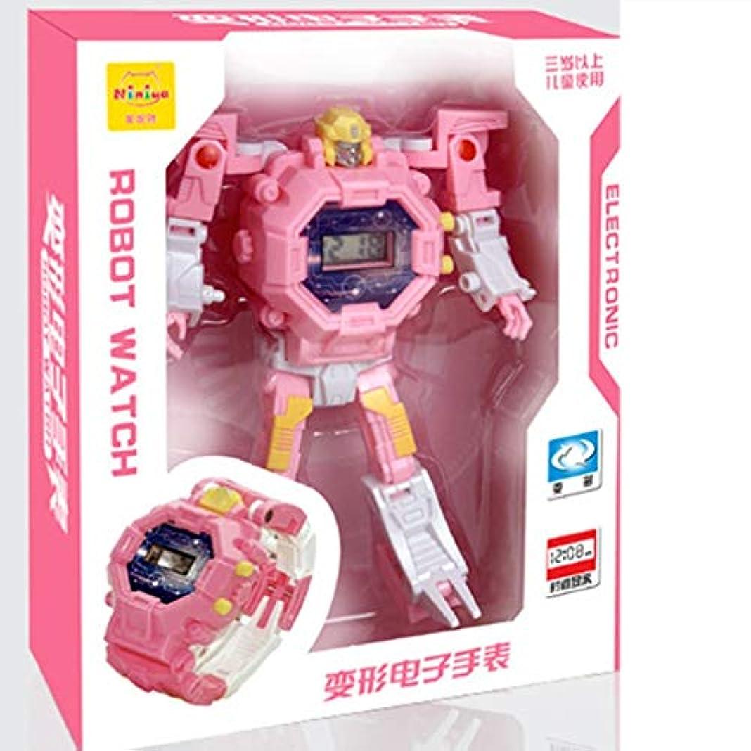 ローマ人急行する洋服男の子用ロボット電子時計女の子2で1教育学習クリスマスおもちゃ電子変形漫画時計おもちゃ(ピンク)