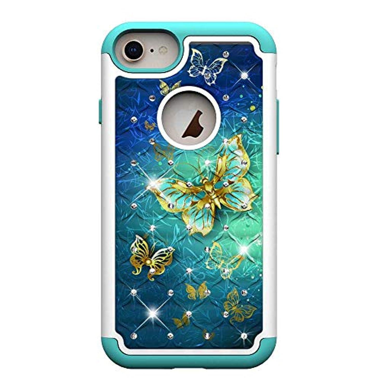 スカルク病気の方法論iPhone 6 / iPhone 6s 防塵 ケースカバー, Zeebox 保護 ハードシェル バックケース, 人気の ダイヤモンドの輝 柄 ケース 背面カバー cover 滑り防止 衝撃吸収 防指紋 保護カバー, 対応 Apple iPhone 6 / iPhone 6sのみ, ゴールドバタフライ