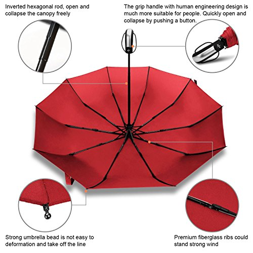 RAINLAX 折りたたみ傘 ワンタッチ自動開閉傘 10本傘骨 耐強風 晴雨兼用 撥水性 梅雨対策 直径103センチ レッド