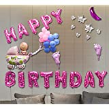 誕生日 飾り付け 特大 バースデー アルミ バルーン 装飾セット ハンドポンプ 両面テープ付き