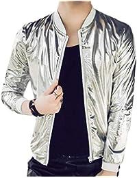 Keaac メンズロングスリーブボンバー金属ナイトクラブジャケットアウトウェア