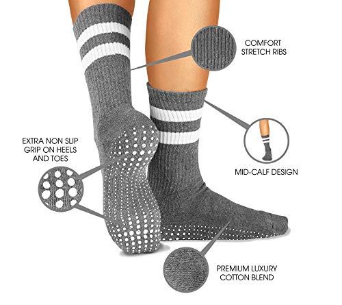 LA Active Grip Socks - 2 Pairs - Yoga Pilates Barre Ballet Non Slip Crew Hospital (Jogger Grey and Tuxedo Black with Stripes)