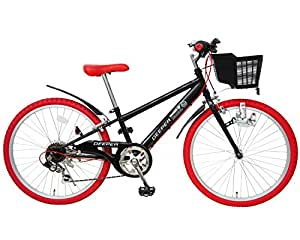 DEEPER(ディーパー) 子供用自転車 24インチ 6段変速 自転車 シマノCIデッキ・バスケット・ライト・カギ標準装備 DE-24 ブラック×レッド