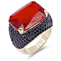 Lavencious Luxury Square Ruby Black Cocktail Fashion Trendy Ring Size 6-10 Cubic Zirconia Jewelry
