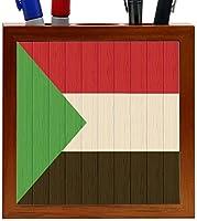Rikki Knight Sudan Flag on Distressed Wood Design 5-Inch Wooden Tile Pen Holder (RK-PH8795) [並行輸入品]