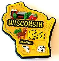 Wisconsin StateマルチカラーPVC冷蔵庫マグネット