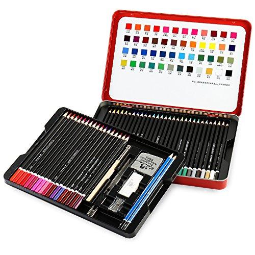 Qisiewell 色鉛筆 油性色鉛筆 アート鉛筆 塗り絵 イラスト描き カラフル スケッチ 描き用 子供/大人の塗り絵用48色 鉛筆削り・消しゴム付き