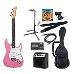 PhotoGenic エレキギター Amazonオリジナル10点セット ストラトキャスタータイプ ST-180/PK ピンク