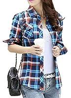 GUOCAI 女性のチェック柄スリムフィットボタンダウンロングスリーブブラウストップポケット付きシャツ one US S