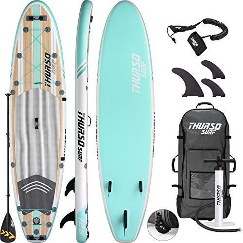 THURSO SURF ウォーター ウォーカー オールラウンド 空気 注入式 スタンドアップ パド ルボード SUP 10'/10'6/11 フィートx 6インチ ダブル レイヤー デラックス パッケージ カーボン シャフト パドル 2+1 クイック ロック フィン デッキバッグ リーシュ バックパック用 (Waterwalker 126)