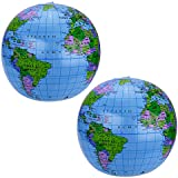 Pangda 2 Pack 41cm Inflatable Globe Blow up World Globe Beach Ball Globe for Party Bags, PVC Material