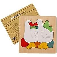 Yingealy 知的発達 クリエイティブ 木製 多層パズル 早期学習 数字 カラー 動物 おもちゃ 子供への素晴らしい贈り物 (アヒ)