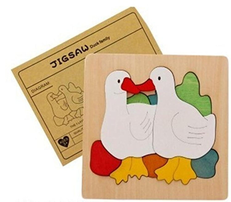 幼児期のゲーム 創造的な木の多層パズルアーリーラーニングの数字の形の色の動物のおもちゃキッズのための素晴らしいギフト(アヒル)