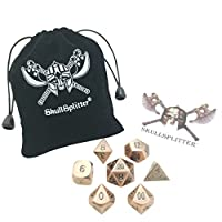 Skullsplitter Diceアンティーク真鍮仕上げwithブラックnumbering-ベルベットバッグ – ソリッドメタルPolyhedral Role Playing Game ( RPG )ダイスセット( 7 Die in Pack )