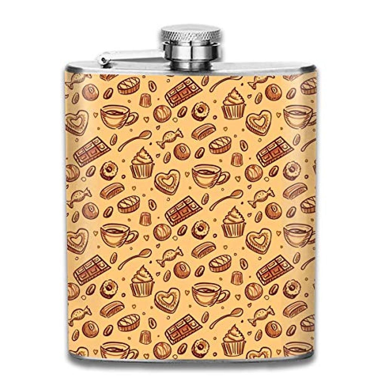 叙情的な熟練した繊毛アフタヌーンティールームフラスコ スキットル ヒップフラスコ 7オンス 206ml 高品質ステンレス製 ウイスキー アルコール 清酒 携帯 ボトル