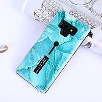 電話ケースカバー 大理石パターンエンボス塗装TPU + Galaxy Note9用ホルダー付きPCケース(ブラック) バッグスリーブ (色 : Blue)