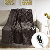 Beautyrest Brushed Long Fur Electric Throw Blanket Ogee Pattern Warm and Soft Heated Wrap with Auto Shutoff-5 Year Warranty, 50x60, Chocolate