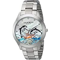 Akribos XXIV Women's Silver-Tone Case with Genuine Swarovski Crystals and White Mother-of-Pearl with Dolphin Dial on Silver-Tone Stainless Steel Bracelet Watch AK953DSS