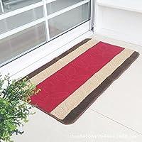 カーペットラグベッドルームリビングルームキッチンバスルームフロアマット厚めのドアミットノンスリップデザインパターン (Color : Red, Size : 45cm*120cm)