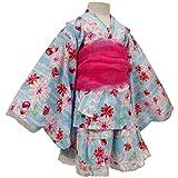 ガールズキッズ浴衣|甚平[なつまつり]女の子キッズ|レース付浴衣ドレス帯付|ゆかたドレス|さくらんぼと花柄|女児|子供|セパレート 100cm サックス