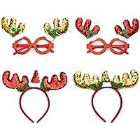 Christmas Frame Glasses and Christmas Headband Reindeer Hair Hoop Headpiece for Christmas Party Red