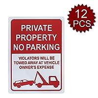 Aspire Premium Aluminium駐車禁止標識 私有財産の看板 違反者は 車の所有者に追いやられることになります - No Parking/12個入り - 25cm W x 35cm L
